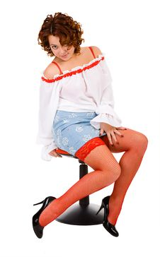 Free Young Woman Sitting On Chair Royalty Free Stock Photo - 8264405