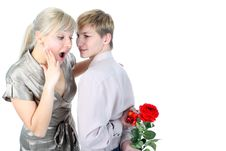 Free Couple With Gift Royalty Free Stock Photography - 8265737