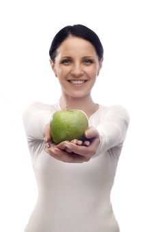 Free Young Woman With Apple Stock Photography - 8266322