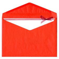 Free Red Paper Envelope With Pink Bow Isolated On White Stock Photo - 8266350