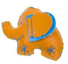 Free Funny Orange Leather Handmade Elephant Stock Photo - 8266370