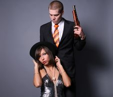 Couple Of Gangsters Stock Photography