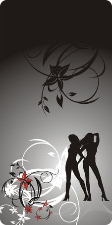 Free Silhouettes Of Girls On The Decorative Floral Back Stock Photos - 8267033