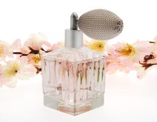 Free Perfume, Pink Bottle With Cherry Blossoms Royalty Free Stock Image - 8267636