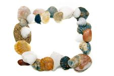 Frame From Seashells And Stones Stock Photo