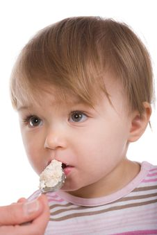 Baby Girl Eating Royalty Free Stock Photography