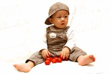 Free Cute Child With Tomato Royalty Free Stock Image - 8269576