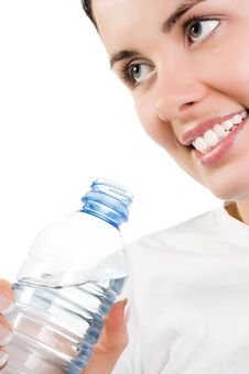 Beautiful Girl With Mineral Water Stock Photo