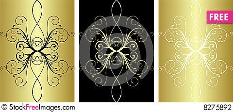 3 gold pattern Stock Photo