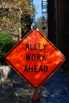 Alley Work Ahead Construction Sign Stock Photo