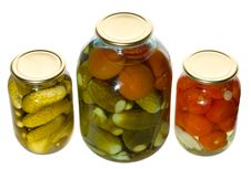 One Big And Two Small Jars With Vegetables Royalty Free Stock Images