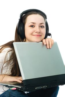 Free Young Woman With A Laptop Royalty Free Stock Images - 8273549