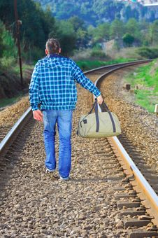 Free Men Waiting For The Train Stock Photography - 8273872