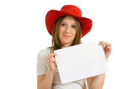 European Girl In A Red Hat Stock Image