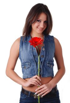 Free Woman With Flower Stock Photography - 8274272