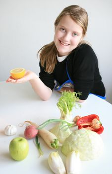 Free Teen With Many Vegetables Royalty Free Stock Photography - 8275487