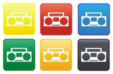 Free Cassette Recorder Web Button Royalty Free Stock Image - 8275516