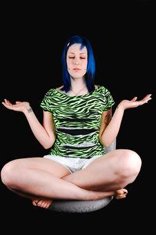 Free Blue Hair Girl Meditating. Stock Photography - 8275652
