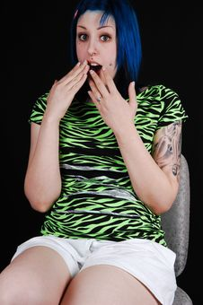 Free Scared Blue Haired Girl. Stock Photography - 8275712