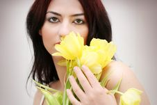 Free Woman In Tulips Stock Image - 8275901