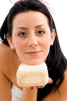 Free Front View Of Woman With Scrubber Stock Photo - 8275910