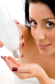 Close Up Of Woman Taking Lotion In Hand Stock Image