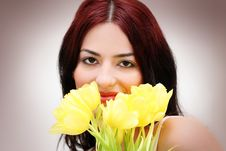 Free Woman Face In Tulips Royalty Free Stock Images - 8275959