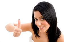 Free Woman Showing Thumb Up On An Isolated Background Stock Photography - 8276072