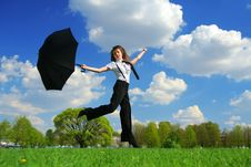 Free Woman Jumping On The Field Stock Photo - 8276160