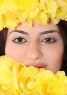 Free Woman Face In Tulips Royalty Free Stock Photo - 8276165