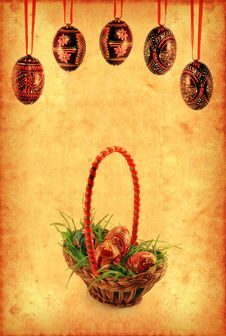 Grunge Wallpaper With Easter Basket Royalty Free Stock Photography