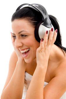 Free Front View Of Woman Enjoying Music Stock Photo - 8276220