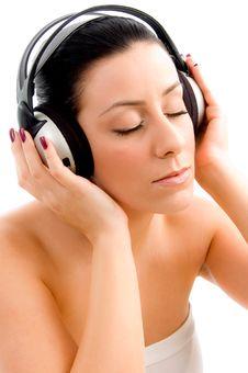 Free Top View Of Female Enjoying Music Royalty Free Stock Photos - 8276268