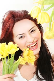 Free Happy Girl With Tulips Royalty Free Stock Photography - 8276297