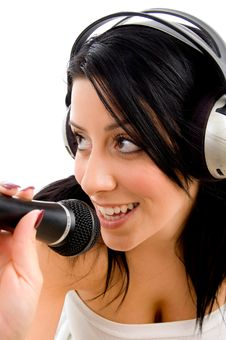 Woman With Headphone And Microphone Royalty Free Stock Image