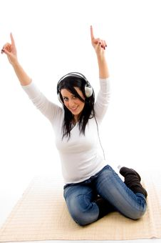 Free Front View Of Dancing Woman Stock Photography - 8276382
