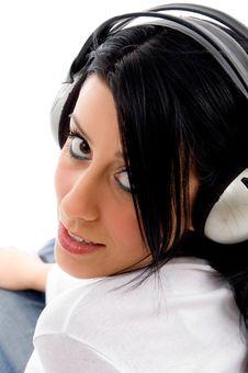 Free Woman Enjoying Music On White Background Stock Photos - 8276453