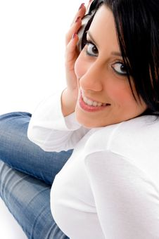 Free Model Listening Music On White Background Stock Photo - 8276470