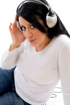 Free Model With Headphone On White Background Stock Image - 8276481