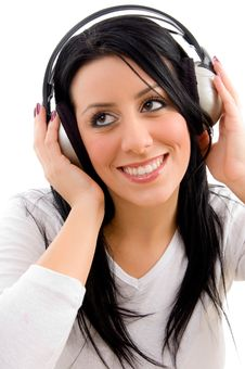 Front View Of Happy Model Listening Music Stock Images