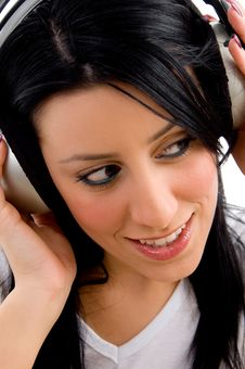 Free Close View Of Model Holding Headphone Stock Photo - 8276650