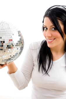 Free Female Listening Music And Carrying Disco Ball Royalty Free Stock Photography - 8276677