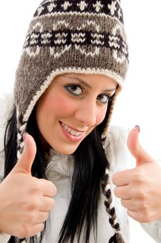 Free Smiling Woman With Woolen Cap And Thumbs Up Stock Photo - 8276740