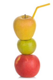 Red Green And Yellow Apple With Straw Stock Image