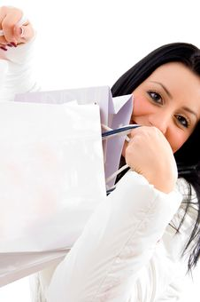 Free Smiling Female Carrying Shopping Bags Royalty Free Stock Photo - 8276805