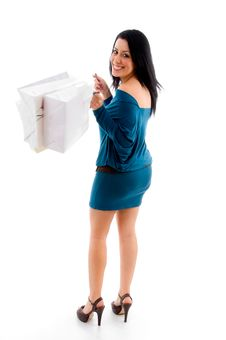 Free Female With Shopping Bags On White Background Stock Photos - 8276853