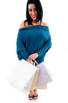 Free Model With Shopping Bags On White Background Stock Photography - 8276872