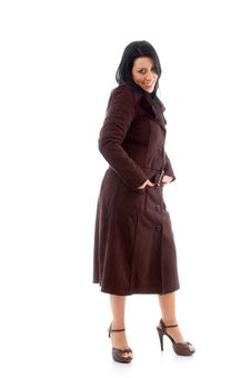 Free Female Wearing Overcoat On White Background Stock Photos - 8276993