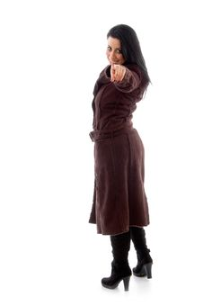 Free Pointing Female Wearing Overcoat Stock Photo - 8277000
