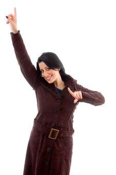 Free Smiling Pointing Female Wearing Overcoat Royalty Free Stock Photography - 8277007